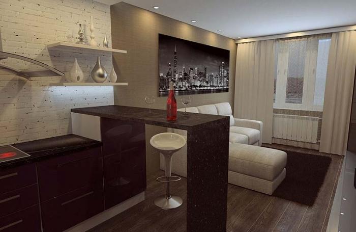 Что сделать с интерьером, если гостиная совмещена с кухней?...